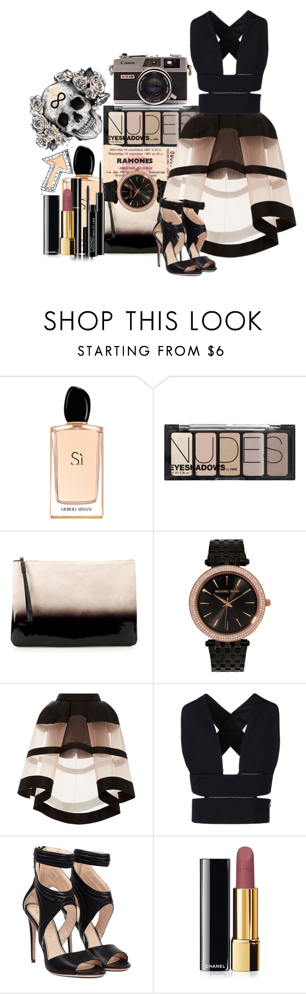 """Untitled #437"" by immalittleskyscreaper ❤ liked on Polyvore featuring Giorgio Armani, H&M, Zara, Michael Kors, Delpozo, STELLA McCARTNEY, Chanel, MAC Cosmetics, women's clothing and women"