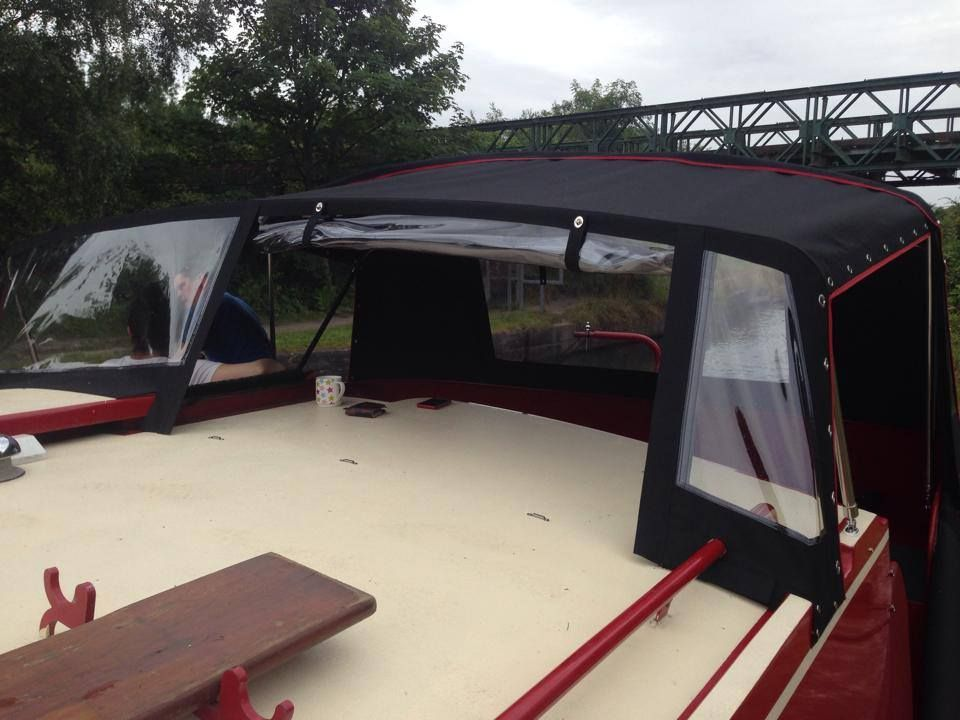Narrowboat Wide beam boat covers Prams and Hoods Call Kinver Canopies Ltd on 01384 394 469 for bespoke cover and canopy ... & Wide beam pram boat cover with zipped roll up front section ...