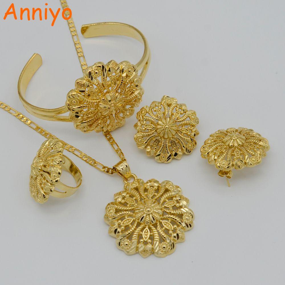 Anniyo ethiopian jewelry set pendant necklacebangleearringring