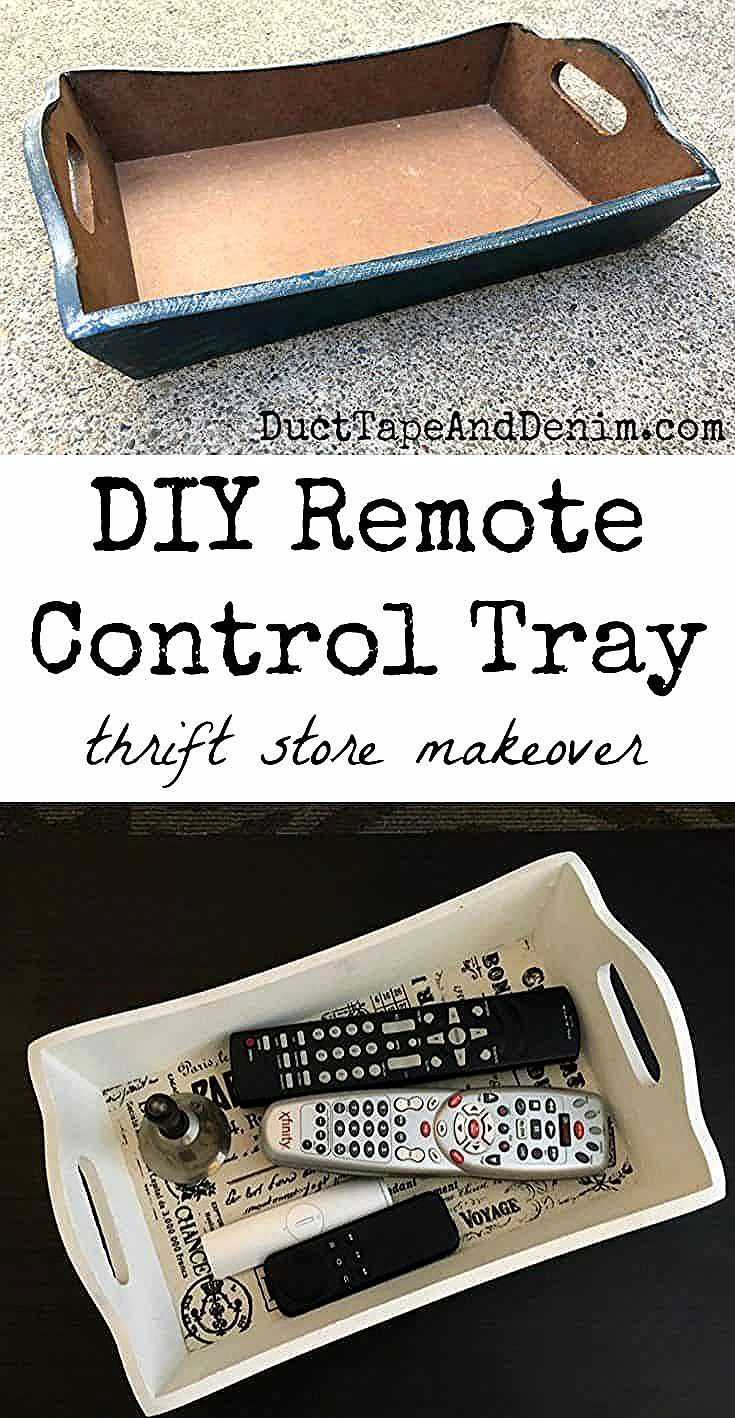 DIY Remote Control Tray, an Easy & Useful Thrift Store Makeover #thriftstorefinds