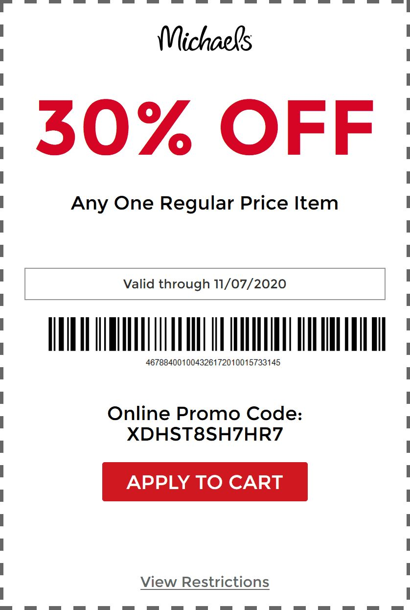 30 Off A Single Item At Michaels Or Online Via Promo Code Xdhst8sh7hr7 20 Everything Via 20madebyyou 11 07 Promo Codes Online Promo Codes Coding