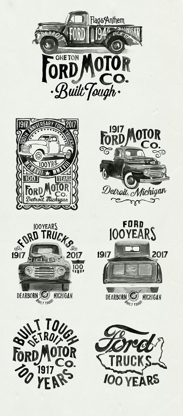 """Ford Motor Logo Vintage Brushlettering Hand Painted Typography Inspiration On Typeriot Com Ì""""œí•' Ë""""""""자인"""