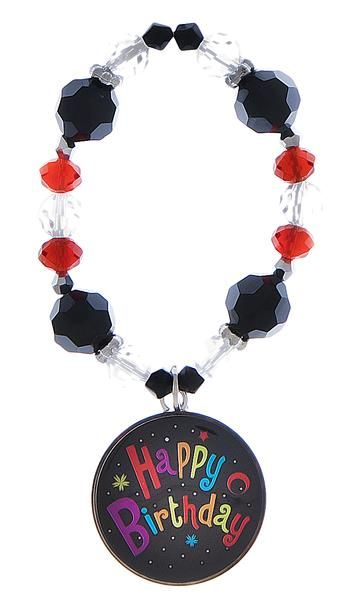 Happy Birthday Wine Bottle Collar Charm only $8.99 Stretchy,can be used as a bracelet,#winebottlecharm,#wineglassmarker