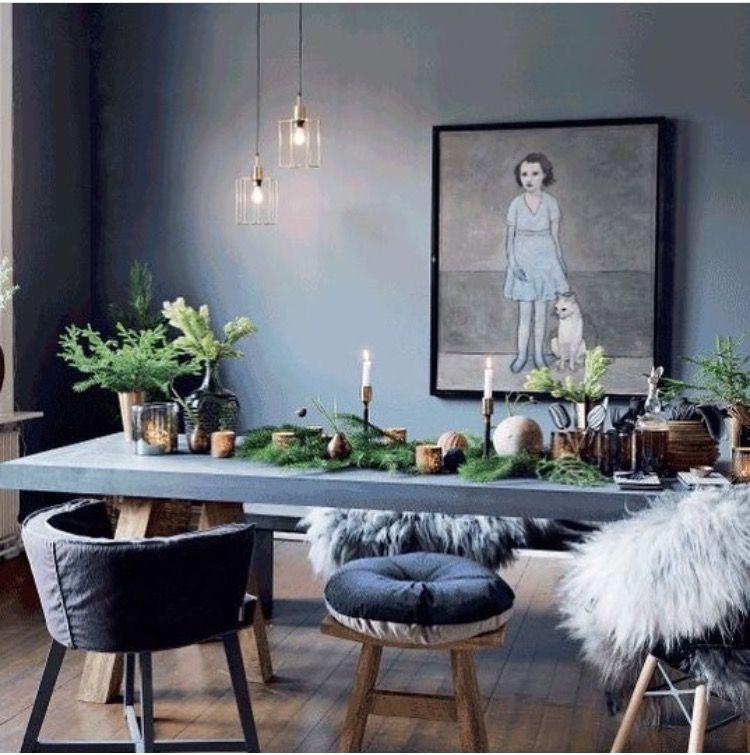 Grey blue comedores pinterest comedores arreglos y for Comedores oscuros