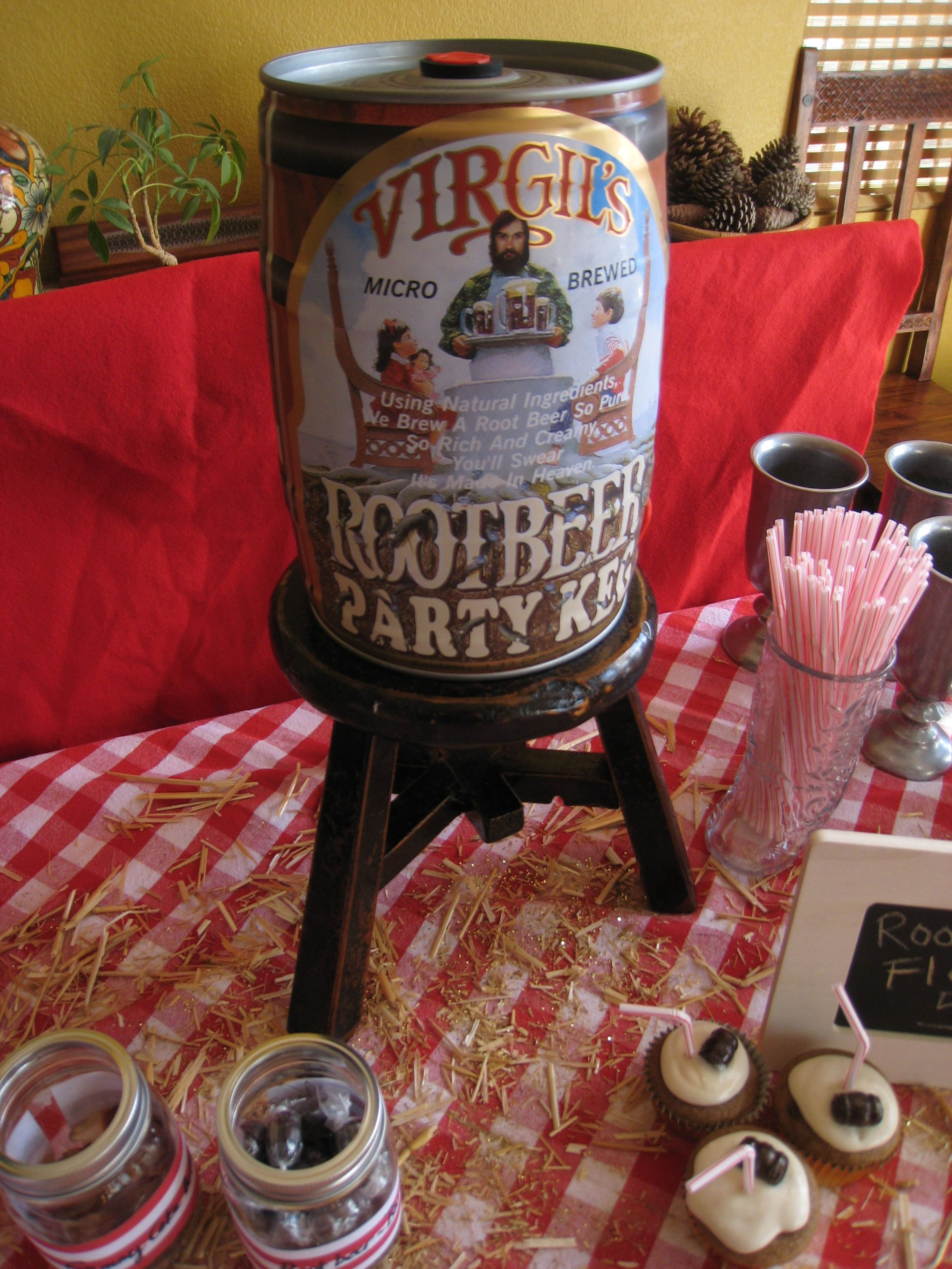 Root beer float birthday party! root beer keg