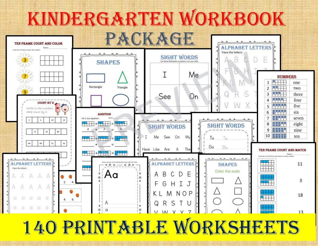 Kindergarten Workbook Package 140 Worksheets Instant