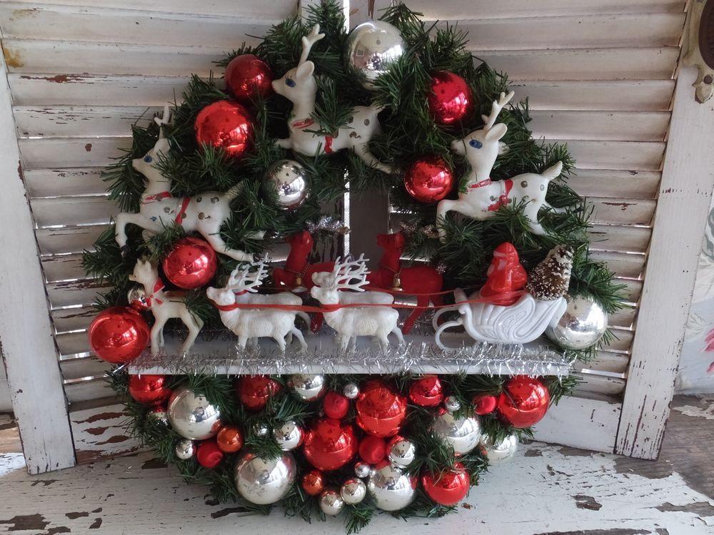 VINTAGE OOAK HANDMADE CHRISTMAS HEIRLOOM SANTA SLEIGH & ALL HIS REINDEER WREATH #vintagechristmas