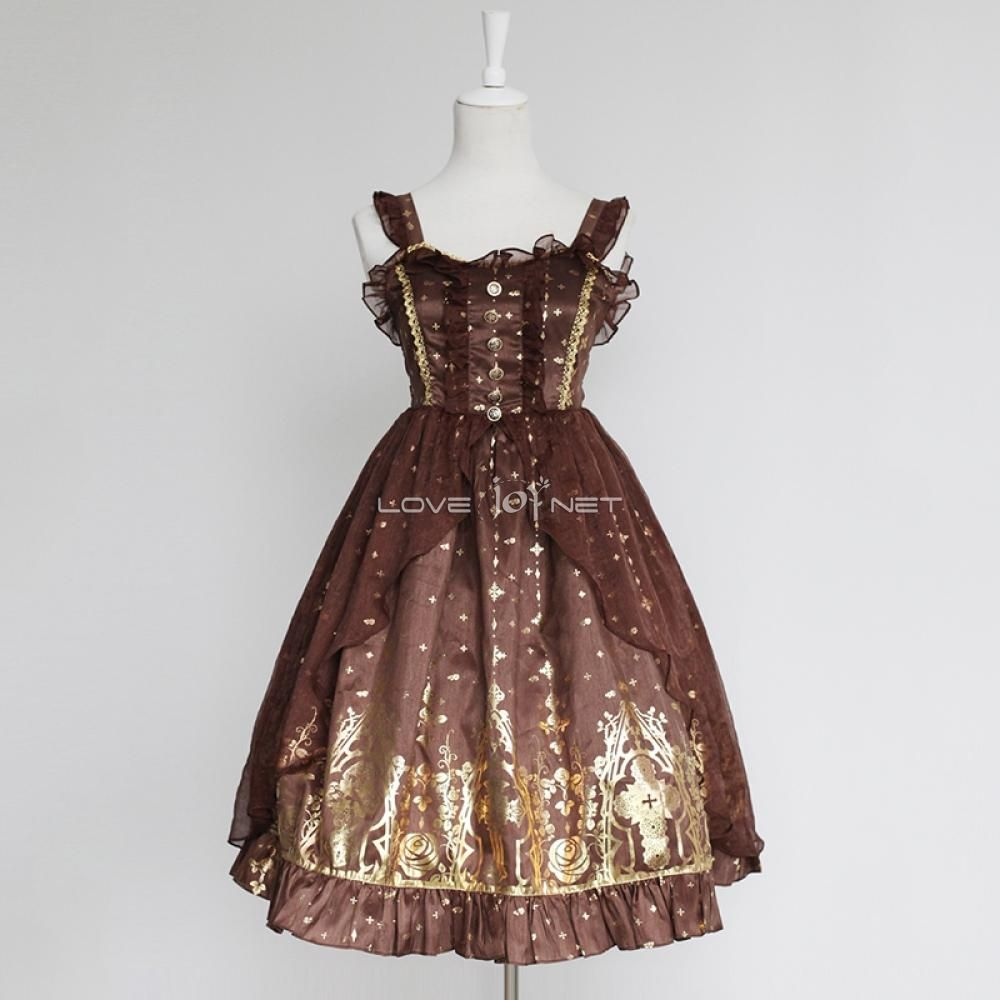 Customized Hot Stamping Polyester and Gauze Lolita Braces Dress 4 Colors