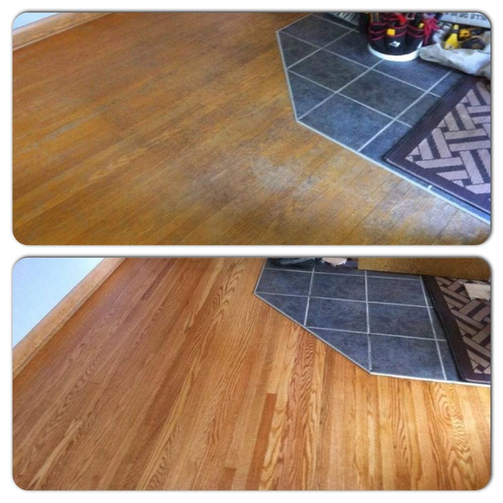 Before and after of a very worn out floor! Flooring