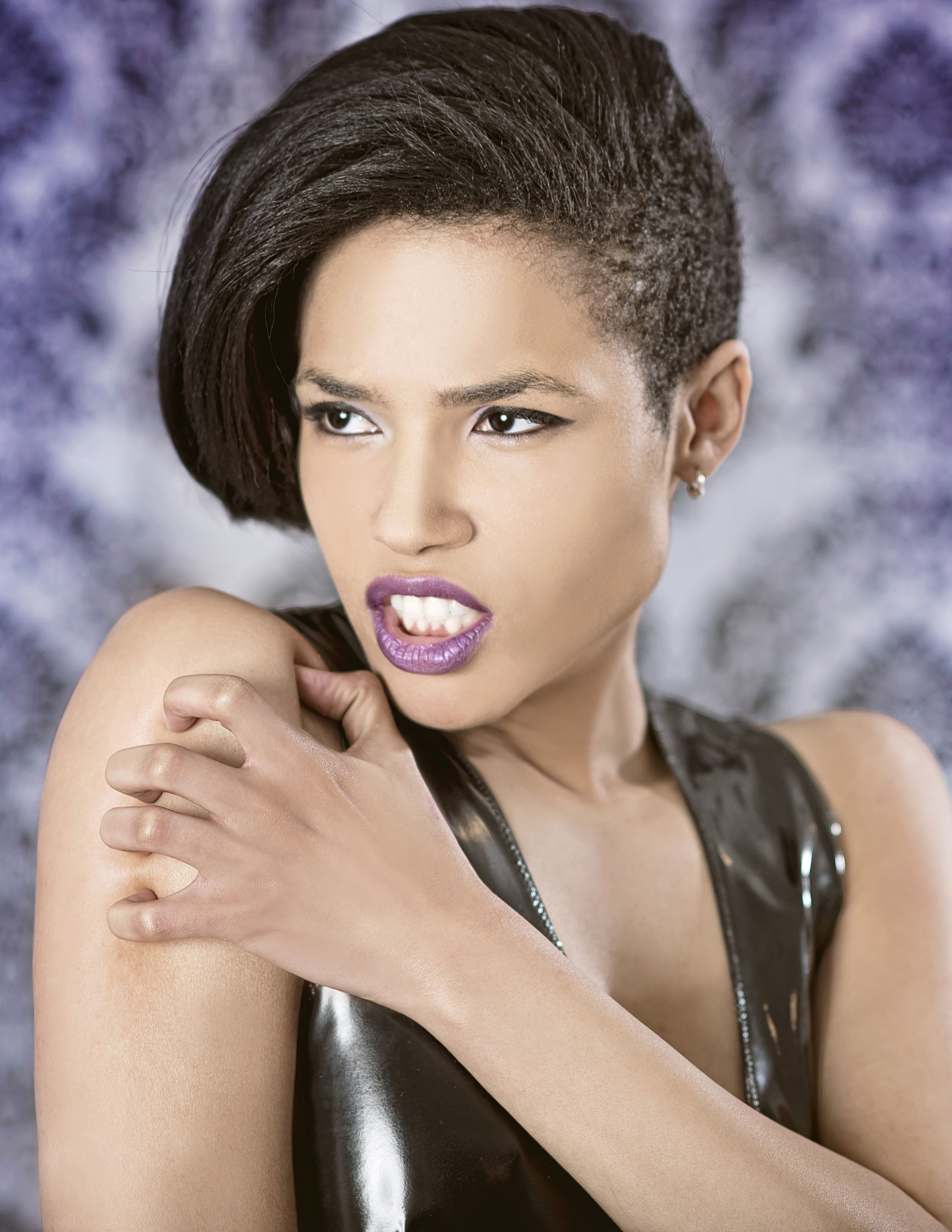 Model- Paige Med Eric LaCore photography  #altmodel #alternativemodel #nyc #shorthair #purple #makeup #gothmodel #altfashion #photography #nymodel #fashion #paigemed