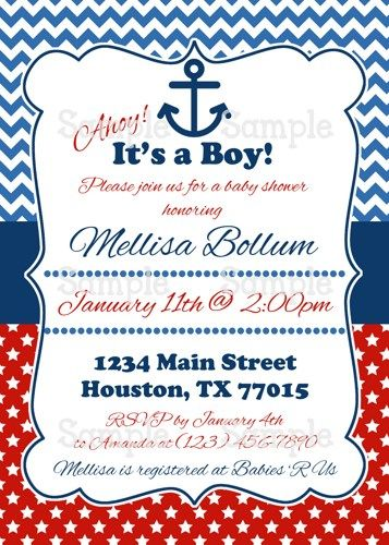 printable ahoy! it's a boy nautical baby shower party invitation,