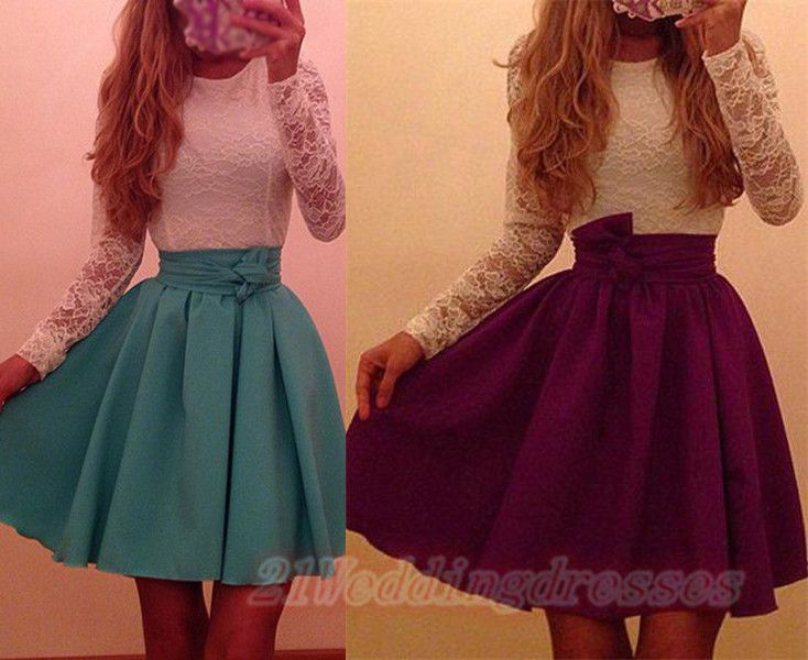 New Arrival O-Neck Long Sleeves Short Homecoming Dresses b7cb049ba