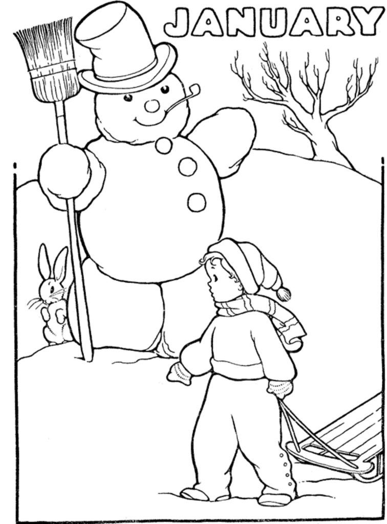 Black And White Black And White Month Of January Winter Kids Color 1 Letter Per Day Of Coloring Pages Winter Coloring Pages Coloring Pages For Kids