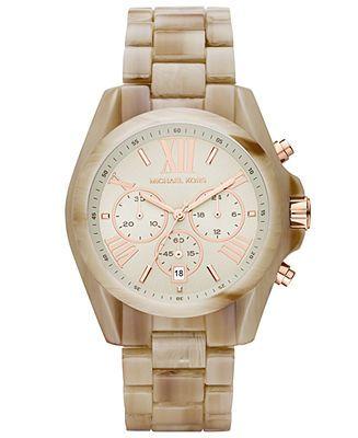 Michael Kors Watch, Women's Chronograph Bradshaw Sand Acetate Bracelet 43mm MK5840 - Women's Watches - Jewelry & Watches - Macy's