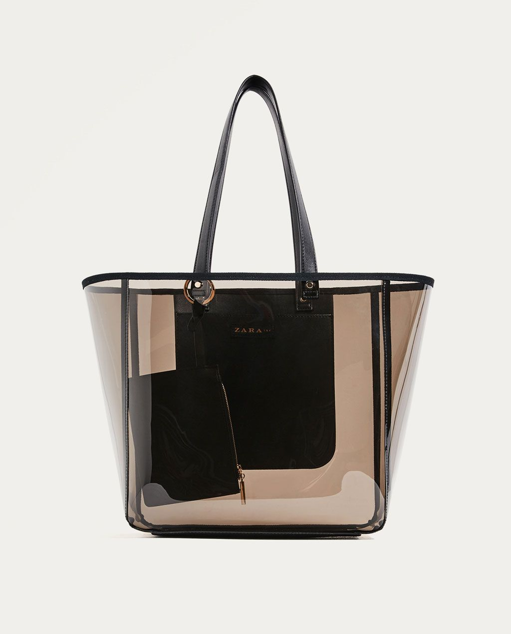 81317820e96173 Image 2 of TRANSPARENT TOTE from Zara | BAGS in 2019 | Bags, Black ...