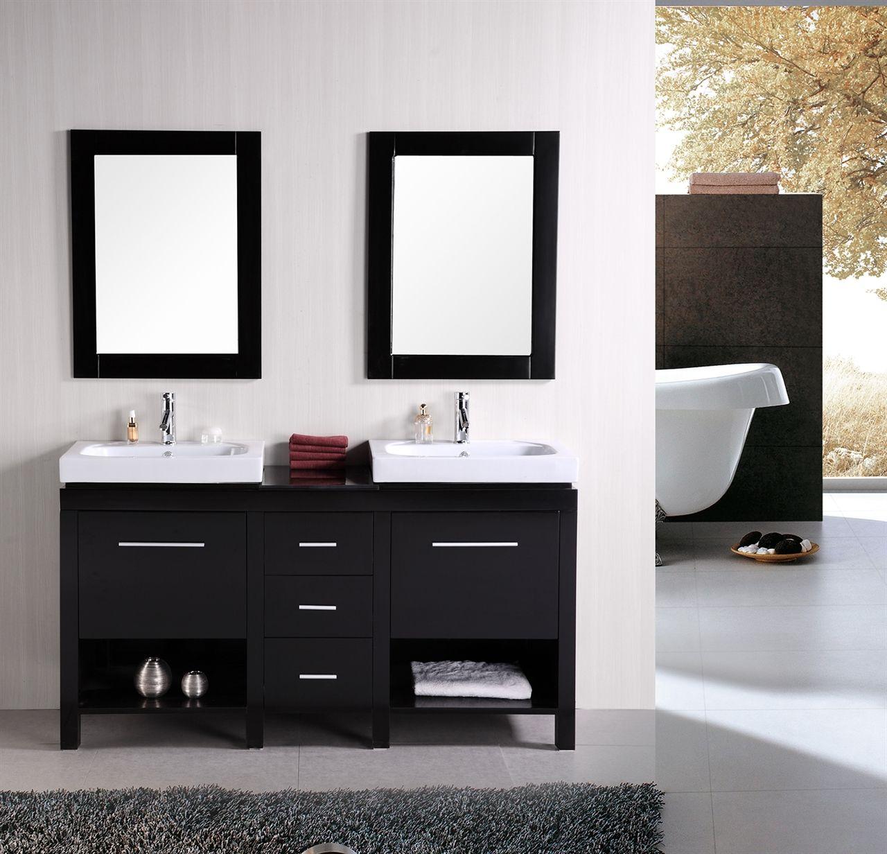 Modern Bathroom Vanities New York Entrancing Double Vessel Sink Vanity In Black With White