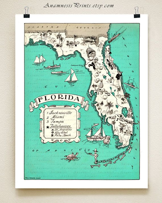 Coastal Map Of Florida.Florida Map Print Size Color Choices Personalize It Vintage