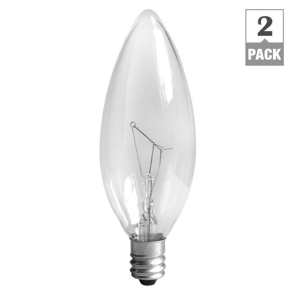 GE 15-Watt Incandescent B8 Blunt Tip Decorative Candelabra Base Clear Light Bulb (2-Pack)