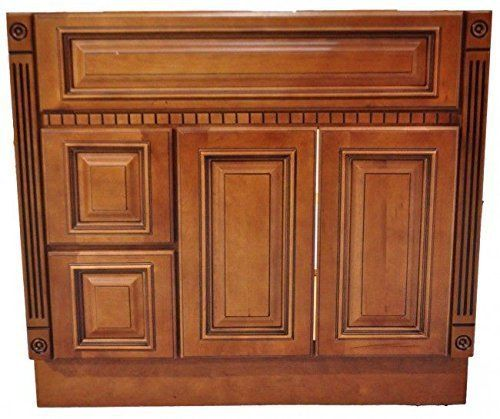 42 Inch All Wood Caramel Fluted Bathroom Vanity   Two Dra... Https