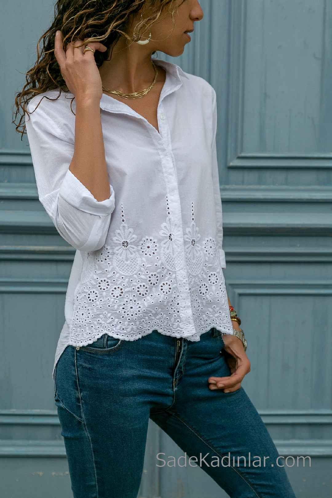2020 Beyaz Gomlek Modelleri Uzun Kollu Onden Dugmeli Etek Kismi Gupurlu Uzun Kollu Moda Moda Stilleri