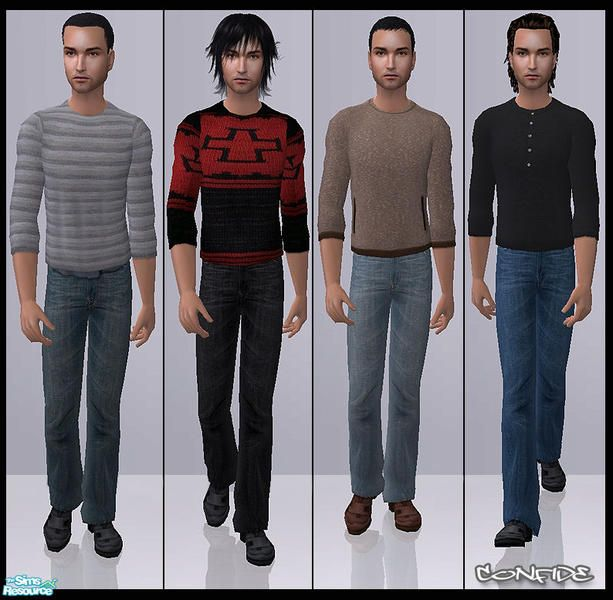 Set of 4 clothes for men. Nightlife EP required. No mesh needed.  Found in TSR Category 'Sims 2 Clothing Sets'
