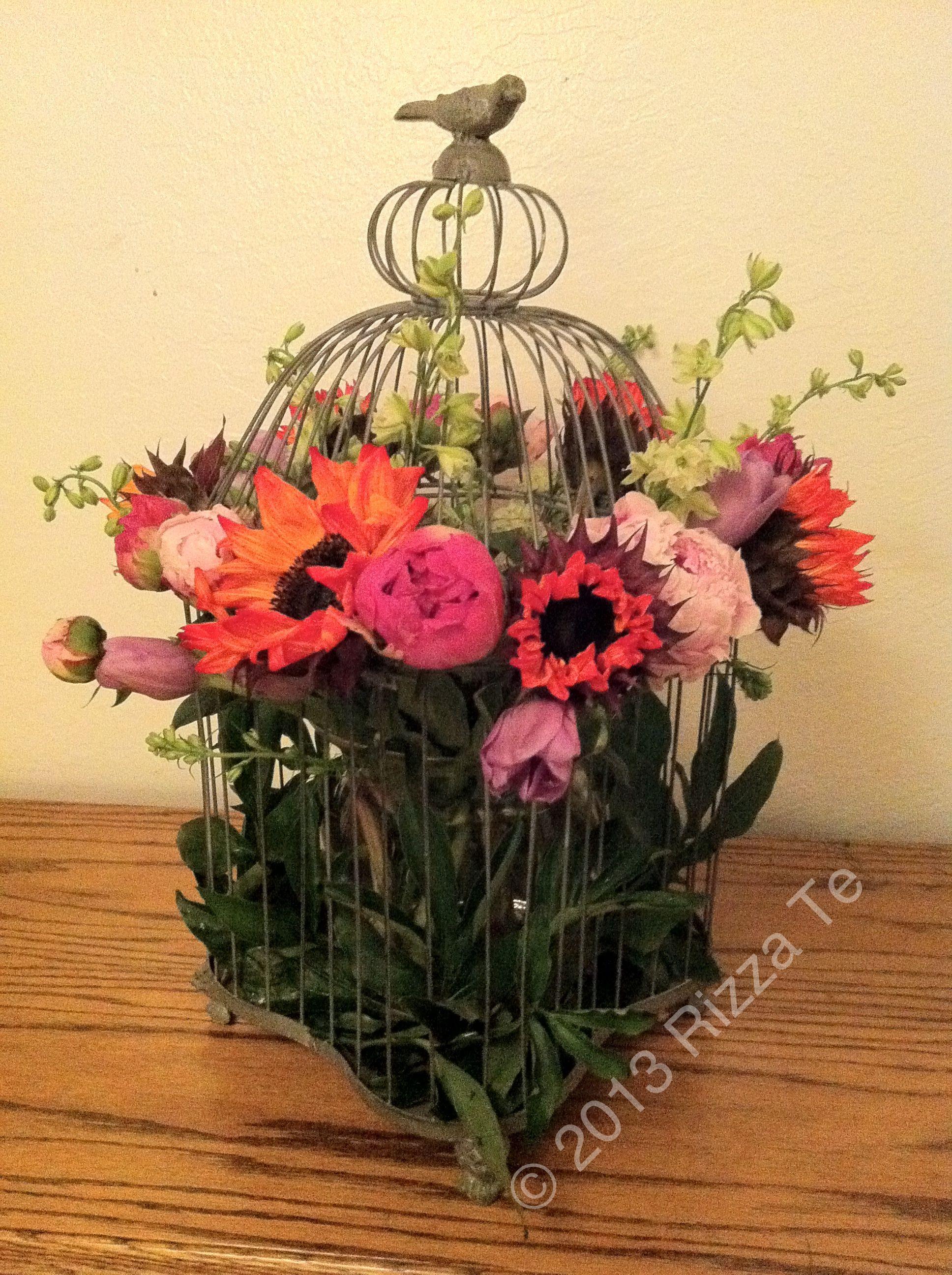 Birdcage Blooms #floralarrangement #peony #sunflower #tulip #birdcage #diy #creative