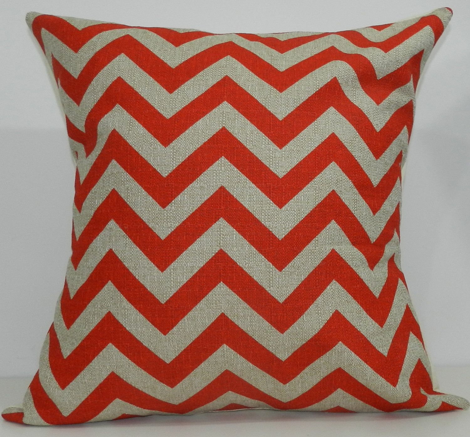 New x inch designer handmade pillow case in bright red and taupe