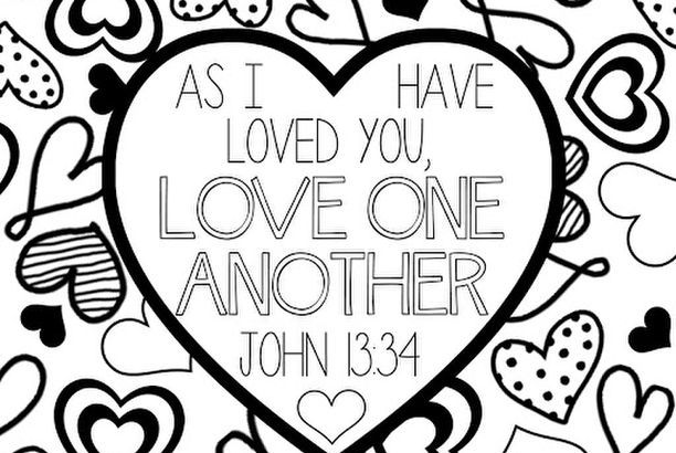 Scripture Coloring Page Love One Another Lds Lane Sunday School Valentines Valentine Coloring Pages Valentines School
