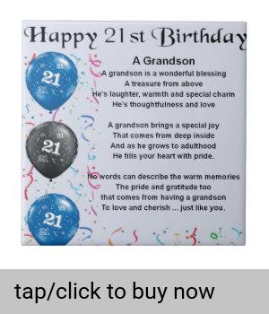 Grandson Poem 21st Birthday Tile Zazzle Com 21st Birthday Poems 21st Birthday Quotes Birthday Greetings For Daughter