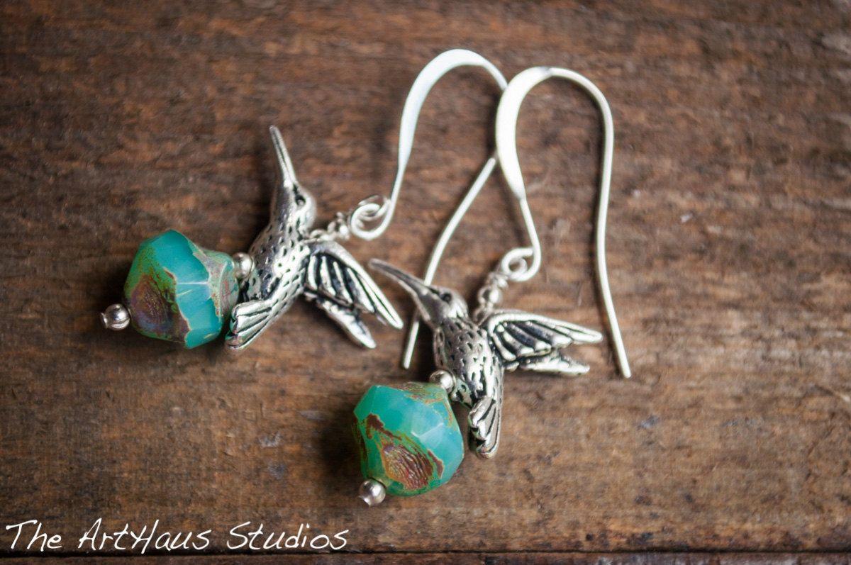 Turquoise hummingbird earrings,hummingbird jewelry,silver hummingbird,turquoise earrings,something blue, bird earrings, silver and turquoise by TheArtHausStudios on Etsy https://www.etsy.com/listing/199615906/turquoise-hummingbird