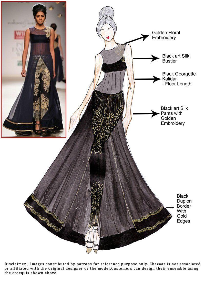 Diy Black Floor Length Kalidar Suit Indian Couture Dresses