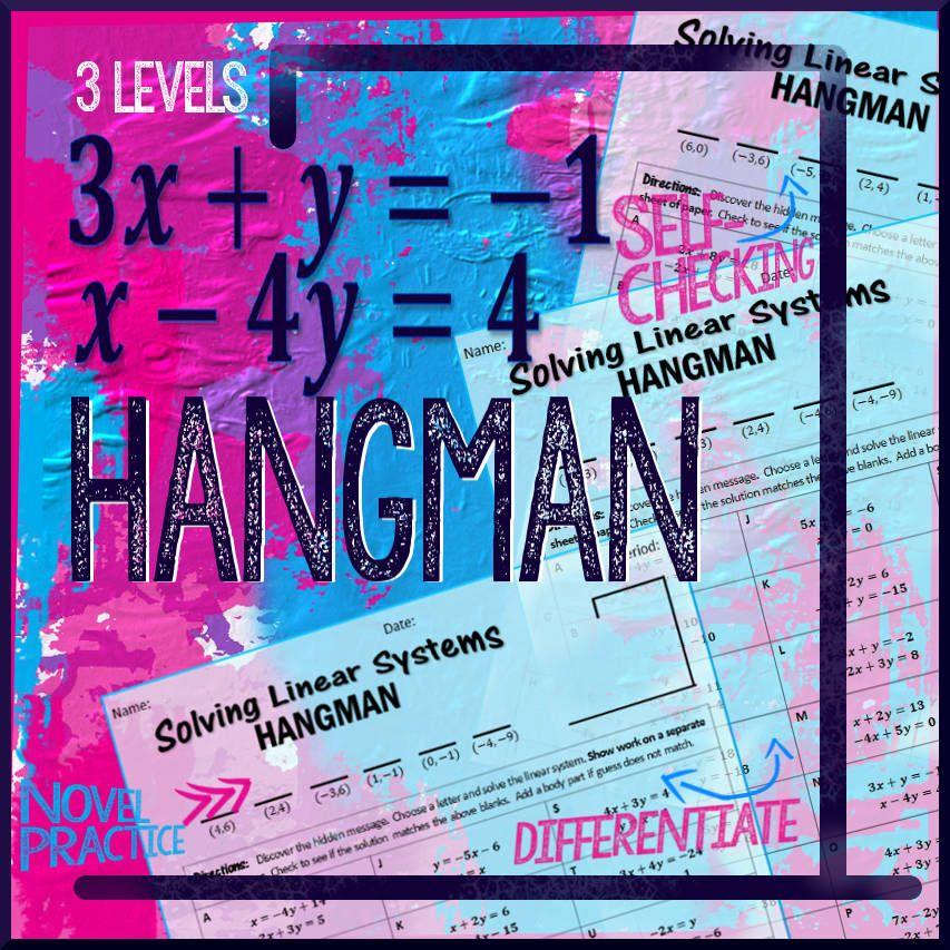 Hangman: Solving Linear Systems Practice | Linear system, Worksheets ...