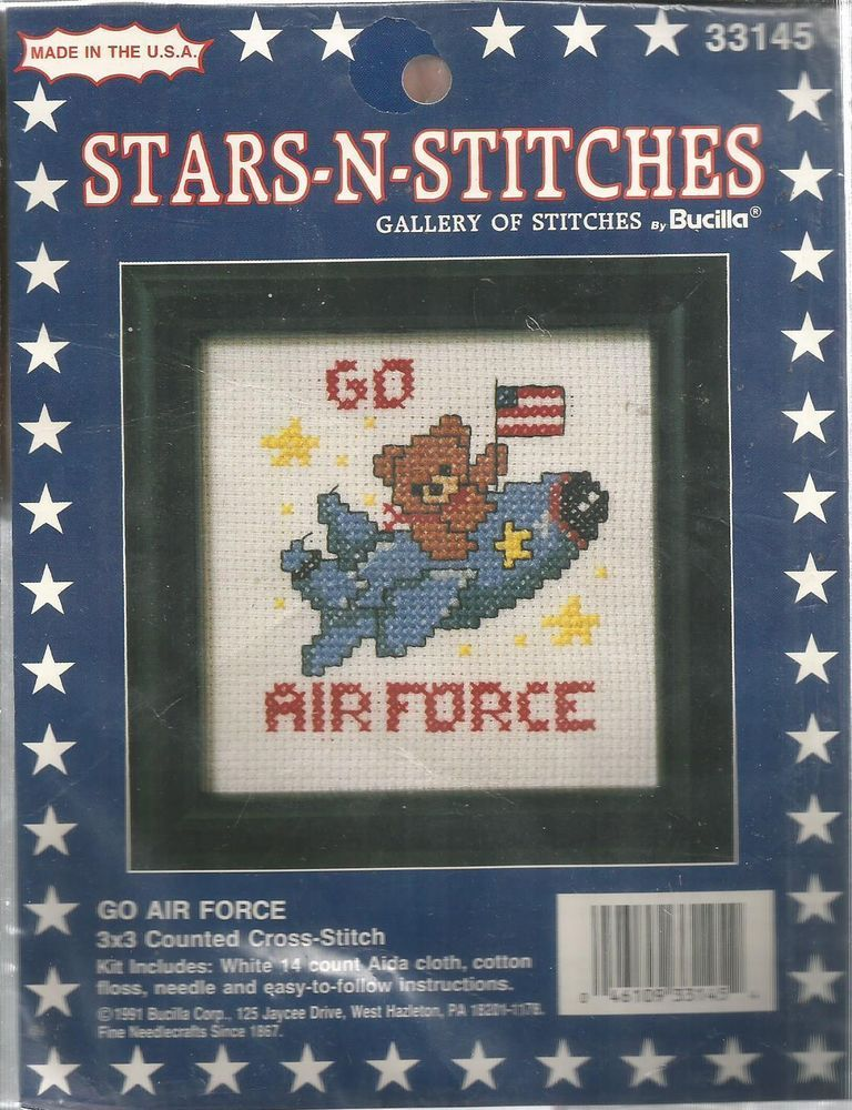 Bucilla Stars N Stitches Cross Stitch Kit Go Air Force 16