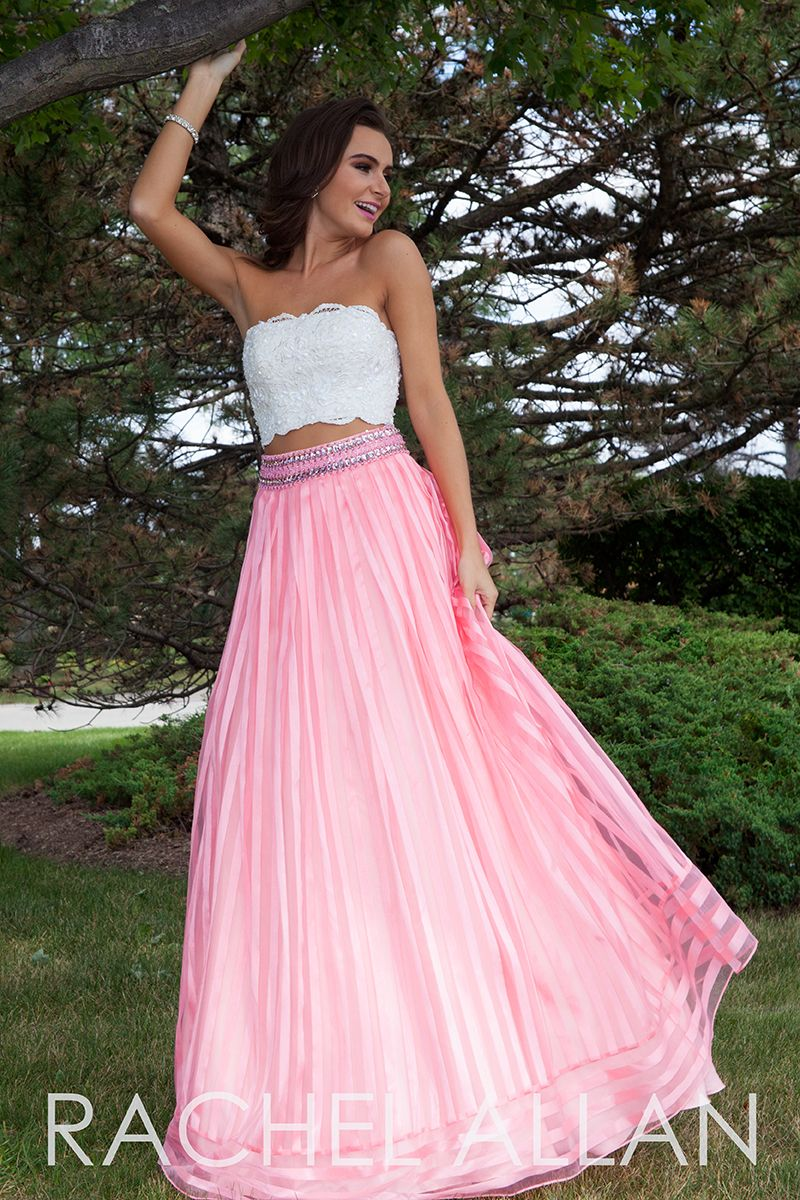 7094 - Two piece ball gown with lace top and vertical striped skirt ...