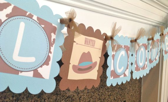 Lil Cowboy Baby Shower Banner Baby Blue & by EmeraldCityPaperie
