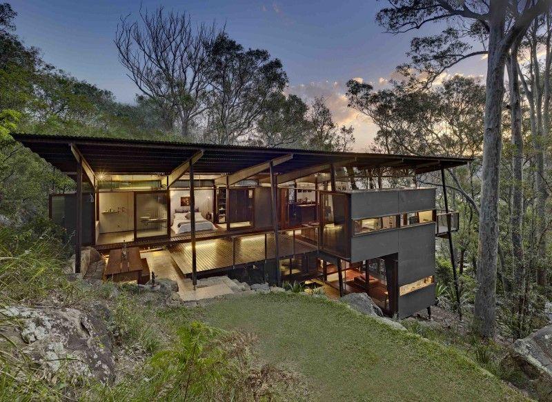 Island House Prefabricated Modular House On A Steep Site Island House Architecture Hillside House