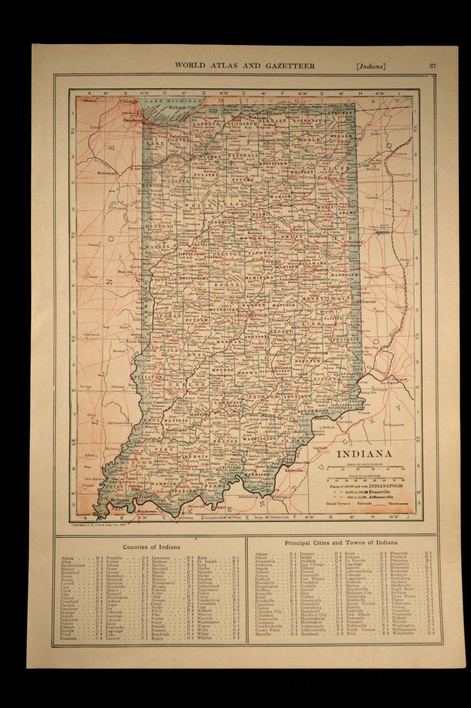 Porter Indiana Map.Indiana Map Of Indiana Wall Art Decor Antique Railroad Original Gift