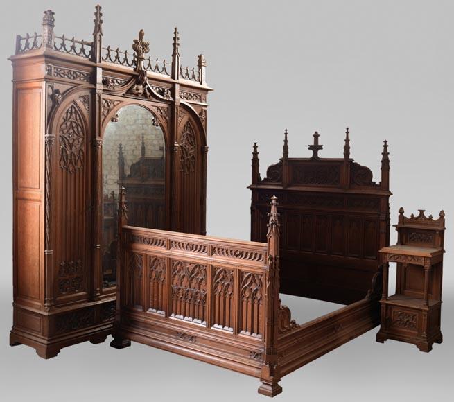 Set Of Bedroom Furniture In Carved Oak Neo Gothic Style Bedroom Bed Gothic House Gothic Furniture Gothic Bedroom