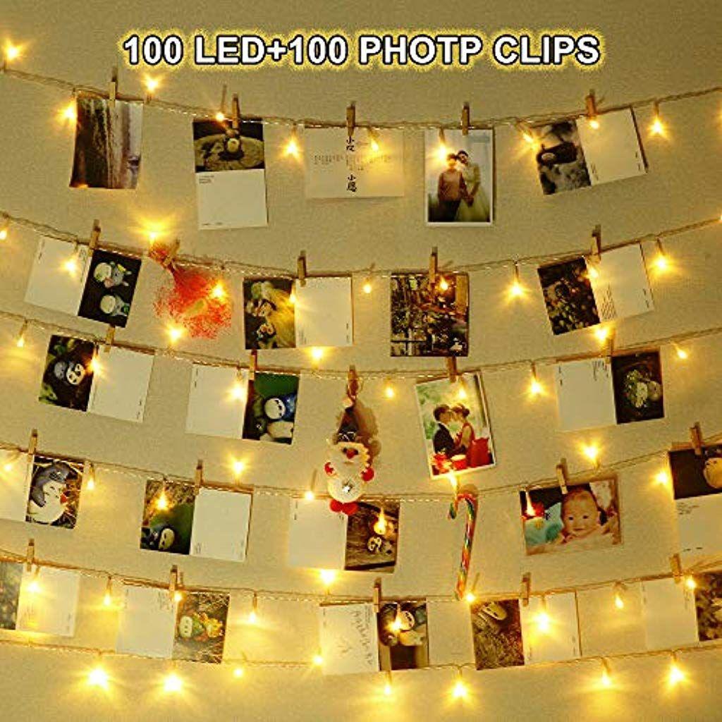 Cgboom Led Foto Clip Lichterketten Fur Zimmer Deko10m 100 Led Warmweiss Bilderrahmen Fur Bilder Fotos Hange Weihnachten Dekoration Dekoration Valentinstag Party