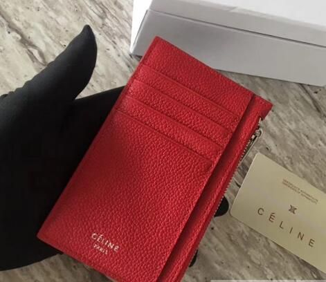 new style eb99b a3582 Discount 2018 Celine Compact Card Holder in Drummed Calfskin red ...