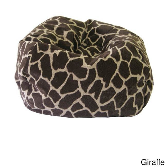 gold medal jumbo animal print round bean bag chair leopard brown