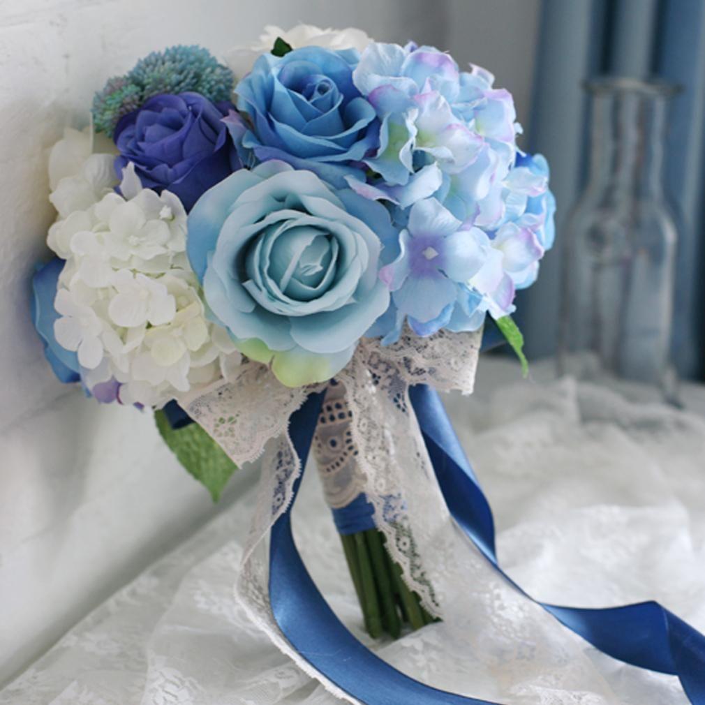 Blue wedding bouquet purple silk rose white hydrangea bridal blue wedding bouquet purple silk rose white hydrangea bridal artificial brooch flowers handmade ramo de novia izmirmasajfo Image collections
