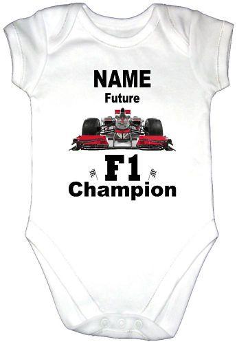 Details About F1 Racing Car Baby Grow Shirt Gro Formula 1 Vest