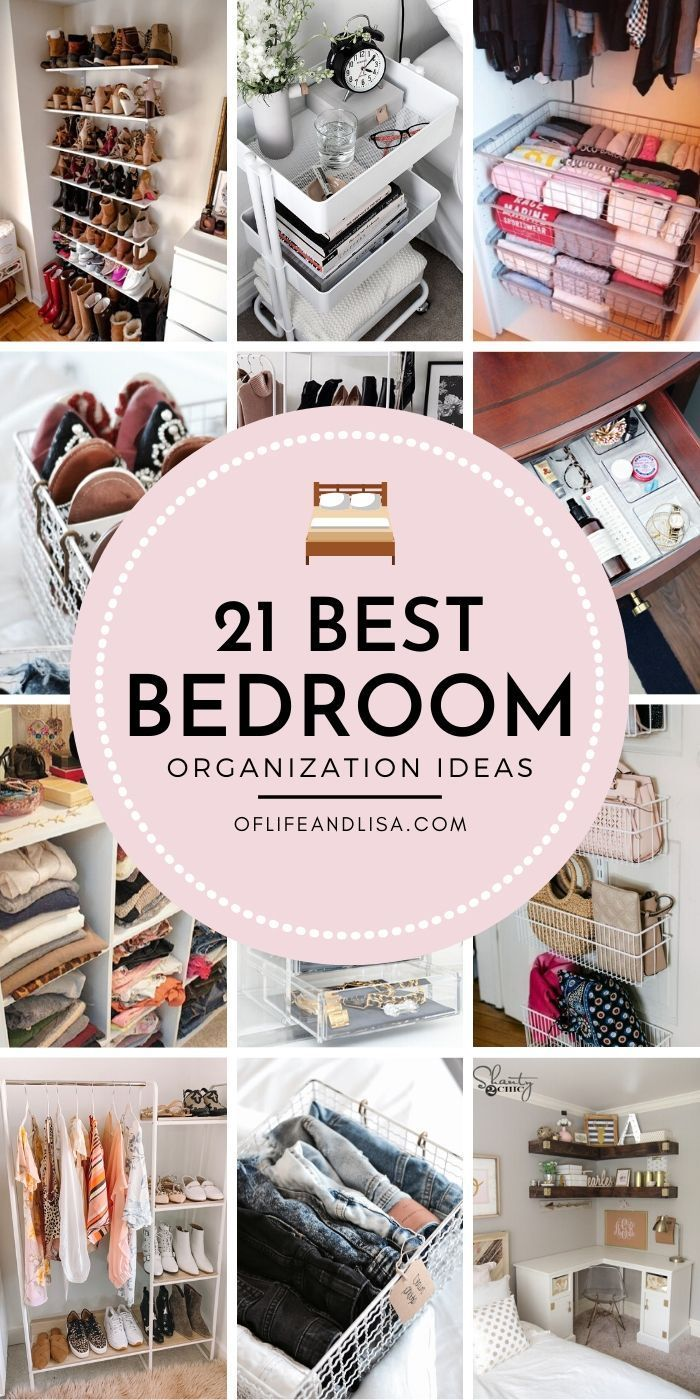 Photo of 21 Stylish Organization Ideas for Small Bedrooms   Of Life + Lisa