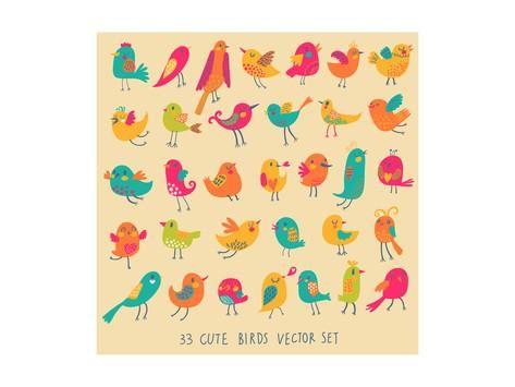Set of 33 Bright Beautiful Birds in Vector. Cartoon Collection with Cute Little Birds Family. Poster by smilewithjul at AllPosters.com