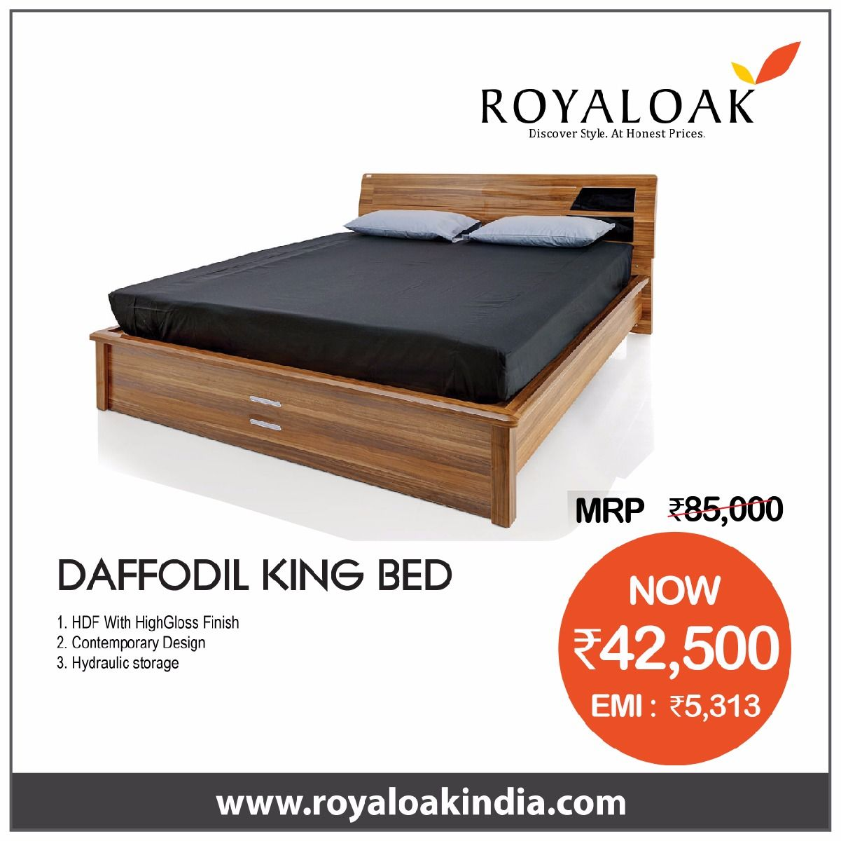 Best Royaloak Lisa King Size Bed With Hydraulic Storage And 400 x 300