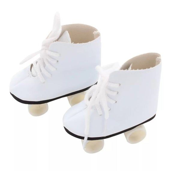 White Roller Skates for 18 Inch American Girl Dolls| 18 Inch Doll Shoes | Our Generation Doll Shoes | My Life As Doll Clothes #18inchdollsandclothes