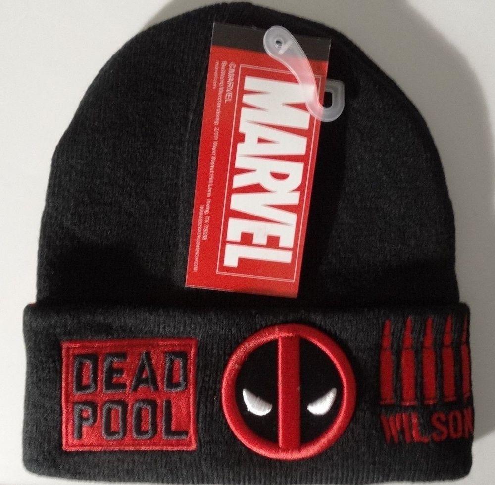 0c6d1b30946e6 Deadpool Logo Omni Batch Bullets Marvel Comics Cuff Knit Hat Nwt  Marvel   Beanie