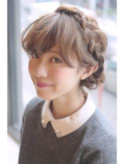 ケアアオヤマ(CARE AOYAMA) ふわくしゅ甘めバングの編み込みアレンジ