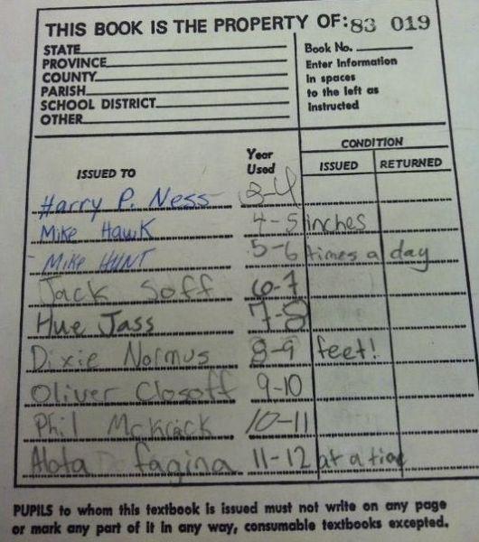 funny photos, funny library card, Hue Jass, Harry P. Ness, funny names